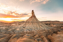 Castildetierra Famous Geological Formation While Sunset At Bardenas Reales Dessert In Navarra, Basque Country.
