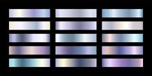 Metal Chrome Gradient Color Set. Metallic Rose Gold, White Gold, Silver, Elegant Pearl, Golden Blue Swatches Palette. Vector Shiny Background Collection For Border, Frame, Label, Flyer Design