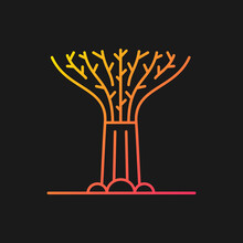 Supertree Grove Gradient Vector Icon For Dark Theme. Tree-like Structure. Recognizable Singaporean Attraction. Thin Line Color Symbol. Modern Style Pictogram. Vector Isolated Outline Drawing