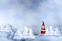 Christmas  Background With Gnome In A Forest Snowy Winter Glade Winter Landscape With Snowflakes, Light. Merry Christmas Card.