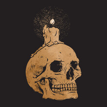 Human Skull With Candle, Skeleton, Memento Mori, Clipart, Vector Illustration