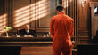 canvas print picture - Court of Law and Justice Trial Proceedings: Law Offender in Orange Jumpsuit is Questioned and Giving Testimony to Judge, Jury. Criminal Denying Charges, Pleading, Inmate Denied Parole.