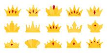 Crown Gold Royal Precious Jewel Heraldry Flat Set