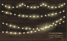 Vector Christmas Decoration. Transparent Light Garlands And Wood Background. Christmas Decoration Concept