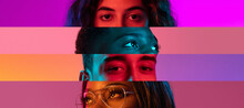 Collage Of Close-up Male And Female Eyes Isolated On Colored Neon Backgorund. Multicolored Stripes.