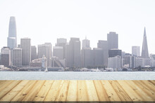 Wooden Tabletop With Beautiful San Francisco Buildings On Background, Mock Up