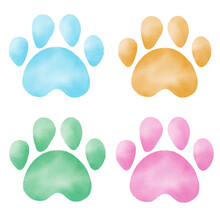 Hand Painted Watercolor Paw Prints. Pastel Color Footprints Clipart For Wallpaper, Kids Graphics, DIY Projects.
