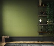 Home Interior Background, Mid-century Modern Style In Loft, 3d Render