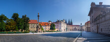 Archbishops Palace On Hradcany Square And Main Entrance To The First Courtyard Of Prague Castle, Prague, Czech Republic