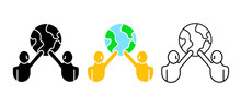 Two People Holding The Earth Icon. People In The World. Save Nature, World Population Day, Ecology And Earth Day Concept. Editable Row Set. Colored, Linear, Silhouette Icon Set. Logo-web, Icon Design.
