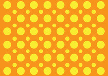 Seamless Vector Pattern Of Yellow Circles On Orange Background. Gift Wrapping Paper Invitation Card Background