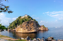 Small Island Of Boa Viagem With Old Church On Top, Blue Sky With Few Clouds Niteroi, Rio De Janeiro, Brazil