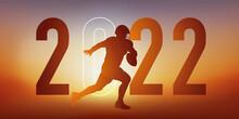 Concept Du Sport Sur Le Thème Du Football Américain Pour Une Carte De Vœux 2022, Montrant Un Footballeur Américain Courant Vers La Ligne De But.