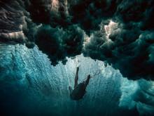 Surfer On Surfboard, Underwater View