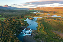 An Aerial View Of The Waterfall Glanni In Norðurá River, Iceland.