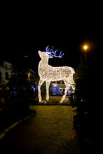 Christmas Installation In The Shape Of A Reindeer, Blurred With Sharp And Film Grain Effect To Make The Photo Look Antiqued