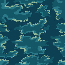 Abstraction Blue Camouflage Background, Geometric Modern Seamless Pattern. Military Pattern.