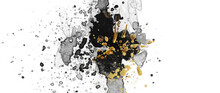 Watercolor Flow Blot With Drops Splash. Abstract Texture Black And Gold Color Stain On White Background.