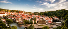 Beautiful View Of The Church And Castle. Cesky Krumlov With St Vitus Church In The Middle Of Historical City Centre. Cesky Krumlov, Southern Bohemia, Czech Republic