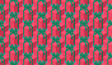 Isometric Christmas Gift Boxes Seamless Pattern Background. Plenty Of Holiday Presents. Festive Red Package Gift Boxes With Green Bows And Ribbons. Flat 3d Isometric Vector Pattern.
