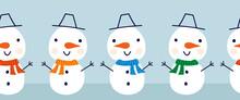 Snowman Seamless Vector Border. Cute Snowmen Standing In Horizontal Row. Winter Holidays Repeating Border Flat Scandinavian Style. For Kids Decor, Ribbons, Kids Winter Wear, Banner, Greeting Card.