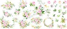 Colección De Bodas Florales De Rosas Rosas Rosas, Hojas Verdes. Corona, Ramo, Flores, Conjunto De Flores. Diseño De Vectores.