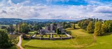 Powderham Castle And Powderham Park From A Drone, Powderham, Exeter, Devon, England, Europe