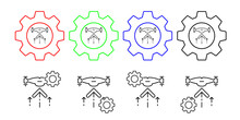 Drone Rises Field Outline Vector Icon In Gear Set Illustration For Ui And Ux, Website Or Mobile Application