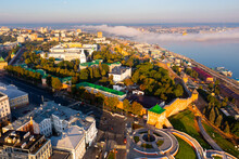 Aerial Drone View Of Kremlin In Nizhny Novgord And River Volga On Sunset, Russia