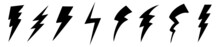 Lightning Bolt Symbols And Icons. Lightning Icon Flat Design Long Shadows Vector Illustration. Lightning Bolt Icon Set, Energy And Thunder Electricity Symbol Concept, Vector Illustration. Electricity.