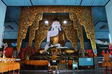 Buddha Statue Burma Style Of Wat Chong Kham And Chong Klang Temple Pagoda For Thai People And Foreign Travelers Travel Visit Respect Praying At Maehongson On July 17, 2013 In Mae Hong Son, Thailand