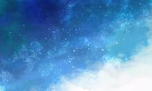 水色の星空の風景イラスト