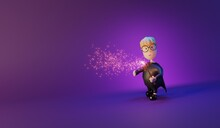 Wiizard Make Tricks With Magic Wand.3D Rendering