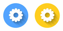 White Flower Icon Isolated With Long Shadow Background. Sweet Natural Food. Circle Button. Vector