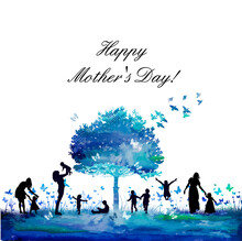 A Beautiful Tree With Children And Mothers. Happy Mother's Day. Vector Illustration