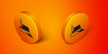 Isometric Oktoberfest Hat Icon Isolated On Orange Background. Hunter Hat With Feather. German Hat. Orange Circle Button. Vector