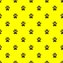 Template From Paw Images. A Set Of Black Isolated Animal Paws On A Yellow Background. 3d Rendering. 3d Image.
