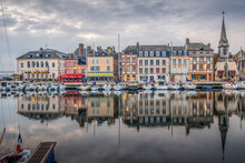 Historic Center With The Canal Of The Port Of The City Of Honfleur And Its Typical Houses, Located In Normandy, France