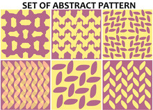 Set Of Six Brown And Yellow Seamless Pattern For Fashion Or Creative Design