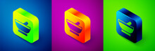 Isometric Witch Cauldron Icon Isolated On Blue, Purple And Green Background. Happy Halloween Party. Square Button. Vector