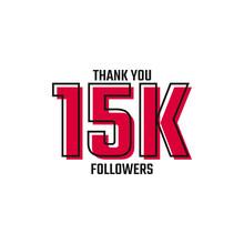 Thank You 15 K Followers Card Celebration Vector Post Social Media Template.