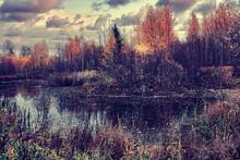 Dramatic Autumn Landscape Pond, Picturesque Autumn Sunset Trees