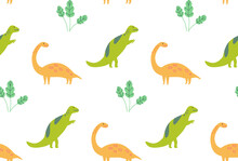 Dinosaur Pattern, Seamless Texture Green And Yellow Dinos On White. Kids Room Wallpaper, Textile Vector Design