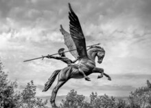 Bellerophon Riding Winged Horse Pegasus Spear In Hand Dark Sky Moody, Trees Black And White
