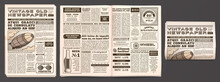 Vintage Newspaper Mockup. Retro Newsprint Pages, Tabloid Magazine And Old News Isolated 3D Vector Template