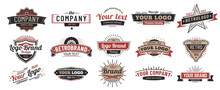 Old Badges. Vintage Sign, Retro Premium Badge And Logo Emblem Frame Vector Set