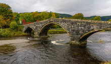 The 3-span Pont Fawr (Great Bridge, Llanrwst Bridge) Over The River Conwy, Also Known As The Shaking Bridge, Vibrating When The Parapet Is Struck
