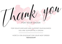 Template For Thank You Note, Design Elements. Calligraphy Handwritten Letters, Soft Pink Colors, Abstract Watercolor Blob. Thank You For Your Purchase Business Card, Creative Vector Illustration.