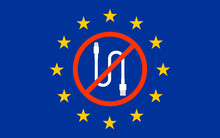 Banned Lightning Cable On European Union Flag. EU, Electronic Waste For Proposes Mandatory USB-C On All Devices.
