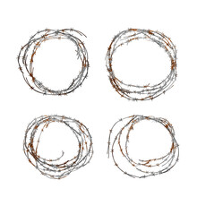 Set Of Different Realistic Hanks Of Metal Glossy Barbed Wire With Red Rust On White